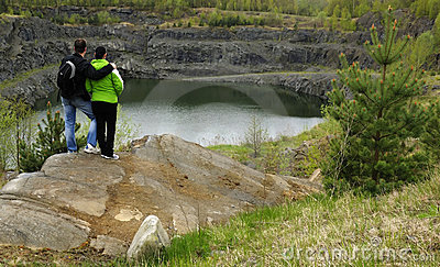 Admiring the mine lake