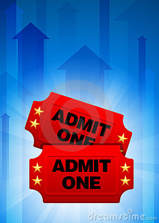 Admission Tickets on Blue Arrow Background
