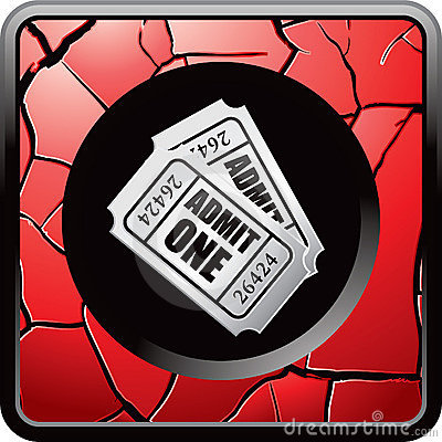 Admission tickets on red cracked web icon