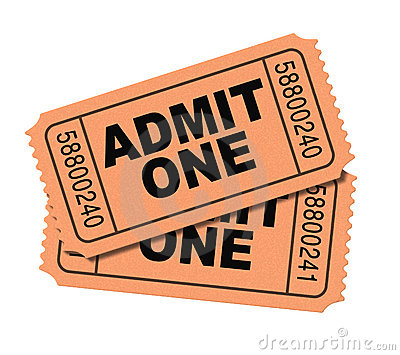 Admit one movie tickets