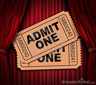 Admit one movie tickets on red drapes