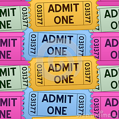 Admit One Tickets Seamless Pattern