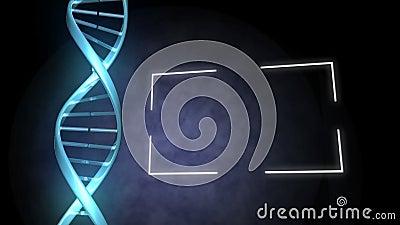 ADN azul ao lado de um quadro vídeos de arquivo