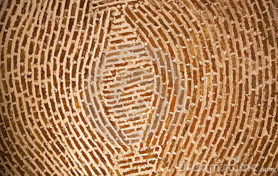 Adobe Brick Wall Concentric Circles Mexico