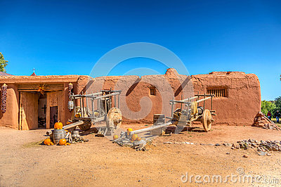 Adobe Building With Ox Carts Editorial Photo Image