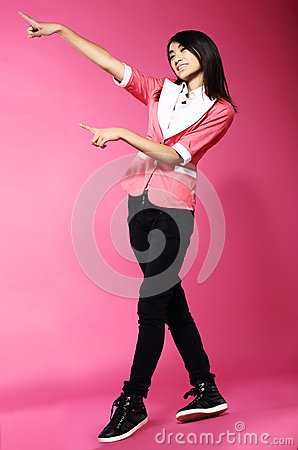 Adolescence. Young Funny Asian Woman Gesturing with her Hands