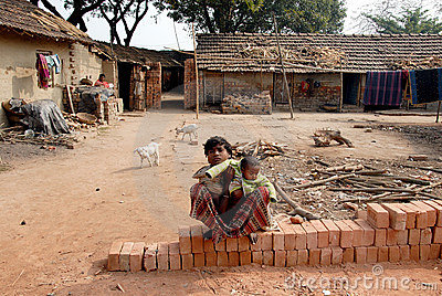 Adolescent girl in brick-field Editorial Stock Photo