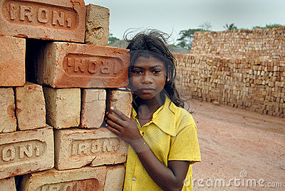 Adolescent girl in brick-field Editorial Photography