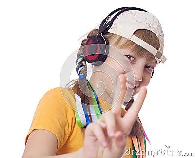 Adolescent girls with headphones