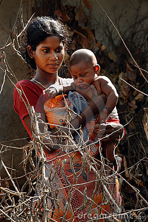 Adolescent Mother in rural India Editorial Photo