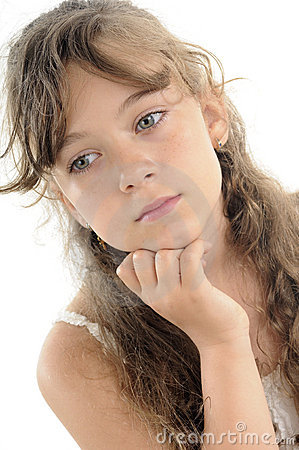 Adolescent thinking portrait