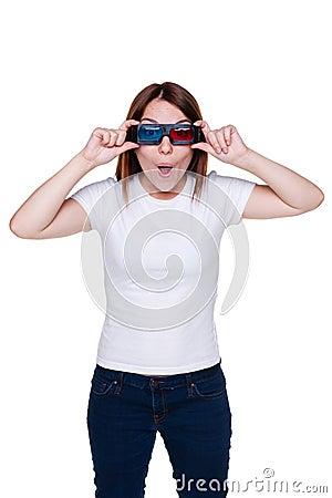 Adolescente en los vidrios 3d