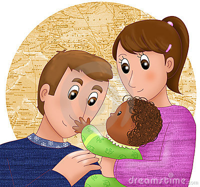 ... black skinned boy. Digital illustration about international adoption