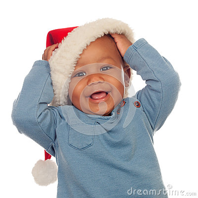 Free Adorable African Baby With Christmas Hat Stock Photos - 35285573