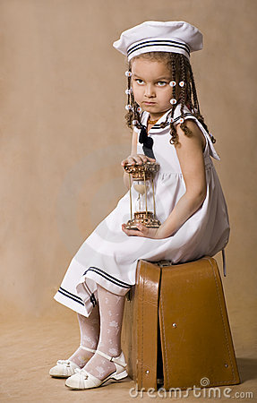 Adorable african little girl. Retro style studio s