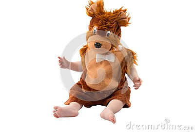 Adorable baby boy,dressed in furry teddy bear carnival suit, isolated on white background. The concept of childhood