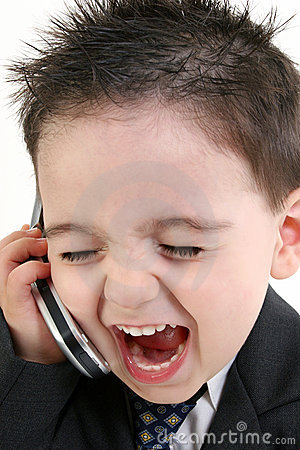 Free Adorable Baby Boy In Suit Yelling Into Cellphone Stock Photo - 233580