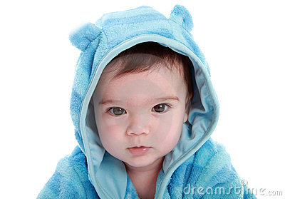 Adorable baby in dressing gown