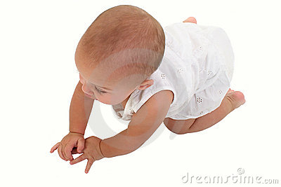Adorable Baby Girl Crawling On Floor