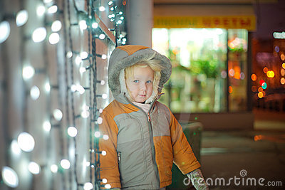 Adorable baby with glow christmas wall