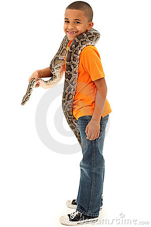 Free Adorable Black Boy Holding Pet Boa Constrictor Stock Photos - 23128283