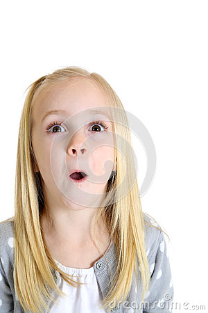 Adorable blond girl with excited or surprised expression