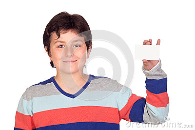 Adorable boy with a blank card