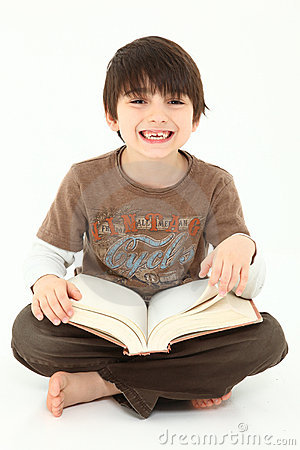 Adorable Boy with Book