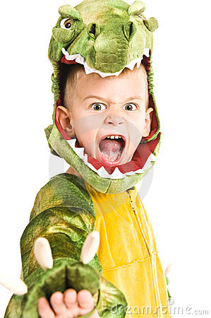 Adorable boy in crocodile costume