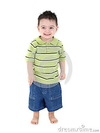 Adorable Boy in Green Stripes