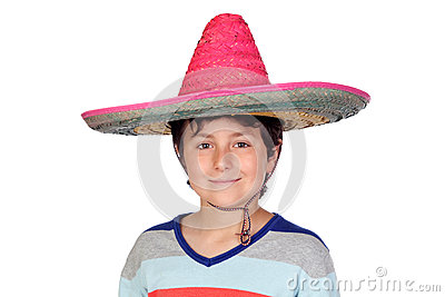 Adorable boy with a Mexican hat