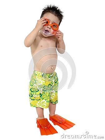 Free Adorable Boy Ready To Snorkel Over White Stock Photos - 110503