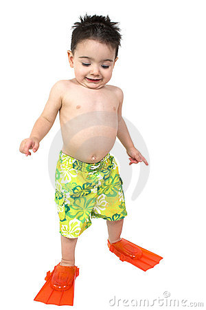 Free Adorable Boy Ready To Swim In His Bright Orange Flippers Stock Images - 110504