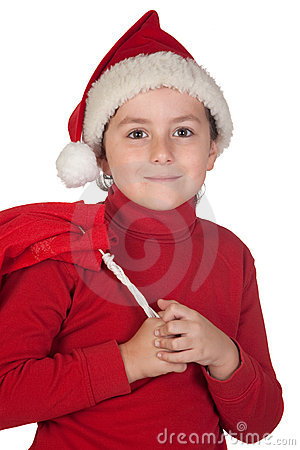 Adorable boy with santa hat