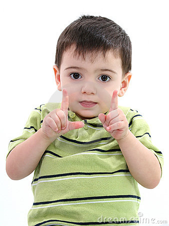 Free Adorable Boy Showing How Big With His Fingers Royalty Free Stock Images - 130679