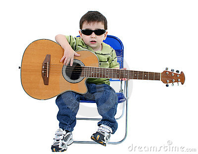 Adorable Boy With Sunglasses And Acoustic Guitar Over White