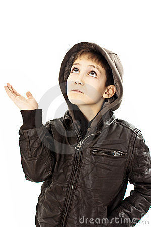 Adorable boy in winter jacket