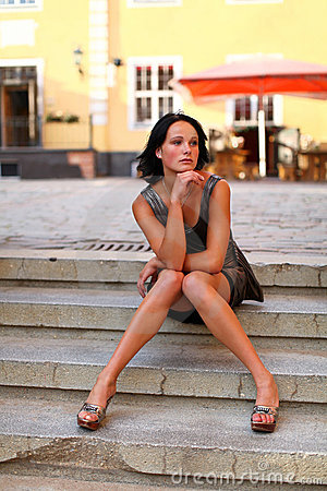 Adorable brunette with sexual legs in Old Riga