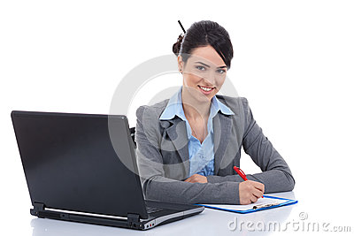 Adorable business woman working at her desk