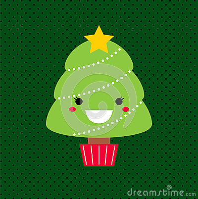 Adorable cartoon Christmas Kawaii tree