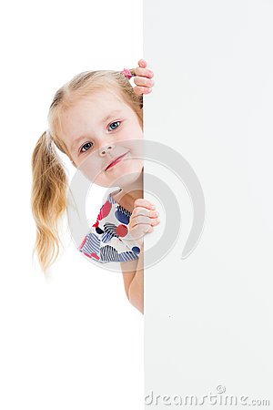 Child with blank advertising banner