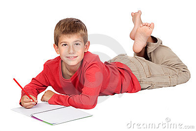 Adorable child with blond hair lying