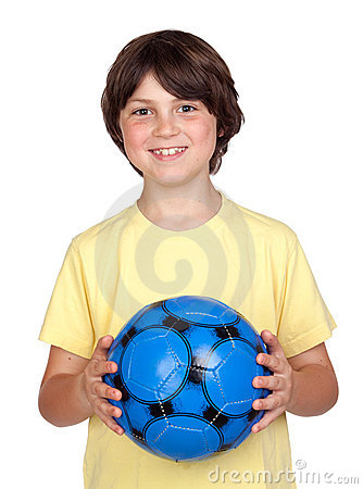 Adorable child with a blue soccer ball