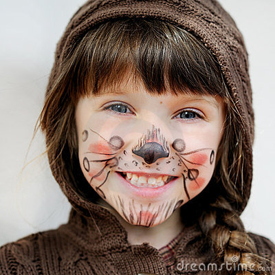 Free Adorable Child Girl With Painted Face Stock Photo - 21224080