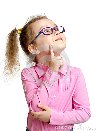 Free Adorable Child In Glasses Looking Up Isolated Royalty Free Stock Image - 40848716