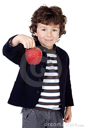 Adorable child with one apple