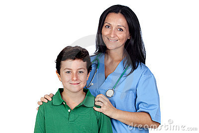 Adorable child with a pediatrician woman