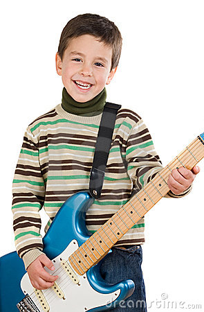 Free Adorable Child Playing Electric Guitar Royalty Free Stock Photo - 7742795