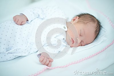 Adorable Child Sleeping on White Blanket