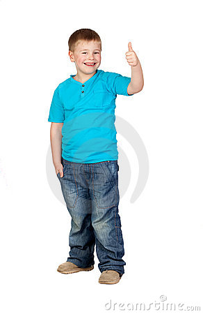 Adorable child with thumb up